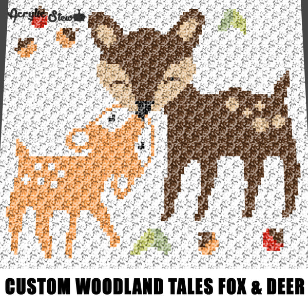 Custom Woodland Tales Fox and Deer Cartoon Art crochet graphgan blanket pattern; c2c, cross stitch graph; pdf download; instant download