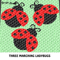 Three Marching Ladybugs Spring Animal Art crochet graphgan blanket pattern; c2c, cross stitch graph; pdf download; instant download