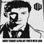 David Tennant Alpha Art Photograph With Doctor Who Logo BBC Television Movie Character crochet graphgan blanket pattern; c2c; single crochet; cross stitch; graph; pdf download; instant download