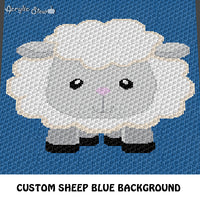 Custom Cute Little Sheep Navy Background crochet cushion pattern; c2c, cross stitch graph; instant download