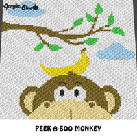 Peek A Boo Monkey Face With A Banana Cartoon crochet graphgan blanket pattern; c2c, cross stitch graph; pdf download; instant download