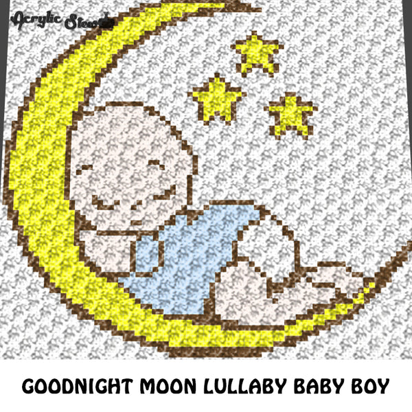 Goodnight Moon and Stars Lullaby Baby Boy crochet graphgan blanket pattern; c2c, knitting, cross stitch graph; pdf download; instant download