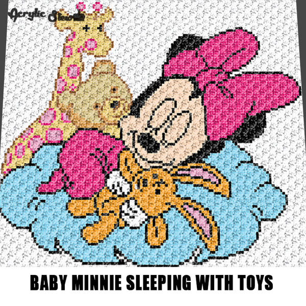 Custom Minnie Mouse With Giraffe Bear and Rabbit Toys Disney Character crochet graphgan blanket pattern; graphgan pattern, c2c, cross stitch graph; pdf download; instant download