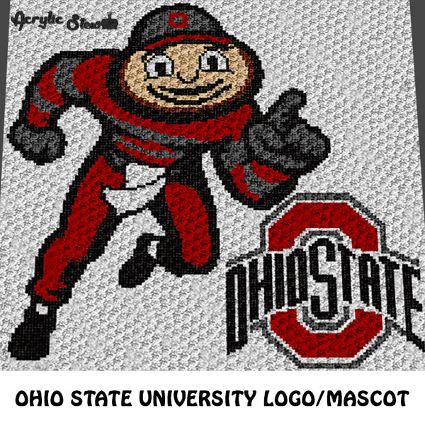 Ohio State University OSU Buckeyes Logo and Brutus Mascot crochet graphgan blanket pattern; c2c, cross stitch graph; instant download