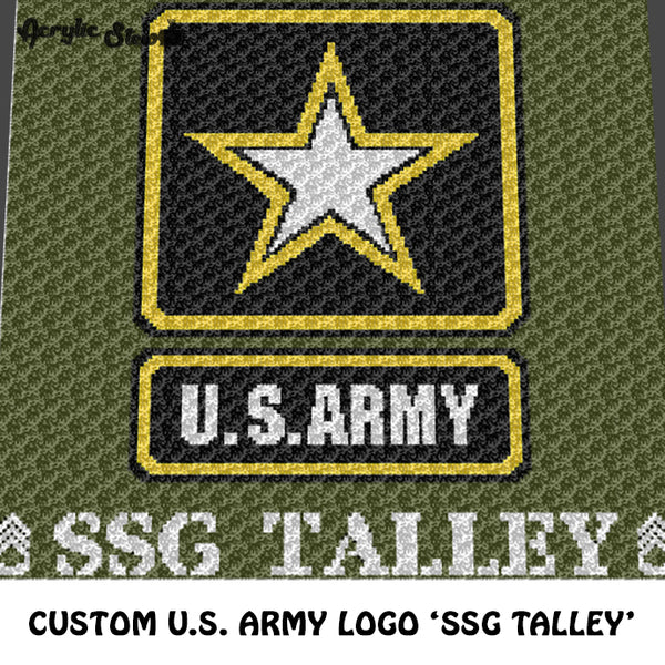 Custom U.S. Army Logo Decal Personalized With Name 'SSG Talley' crochet graphgan blanket pattern; c2c, cross stitch graph; pdf download; instant download