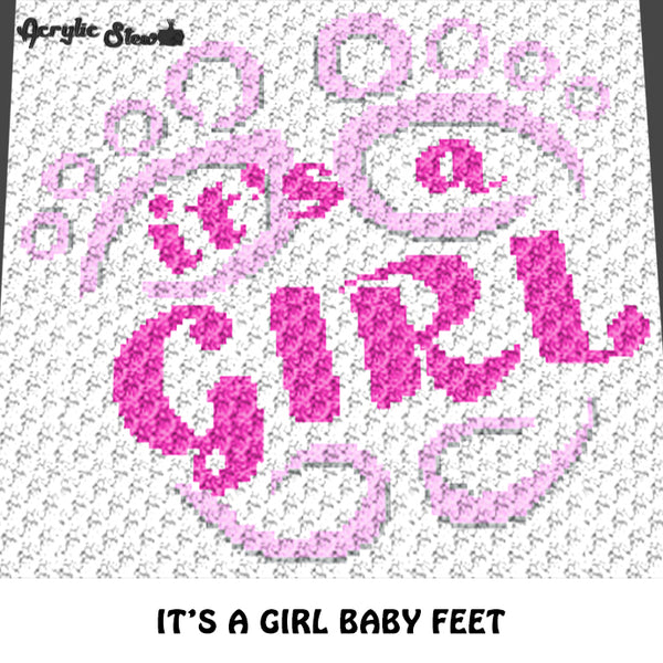 It's A Girl Baby Feet Baby Shower Quote crochet graphgan blanket pattern; c2c, cross stitch graph; pdf download; instant download