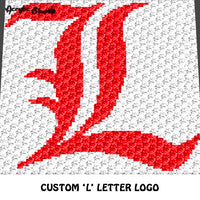 Custom 'L' Letter Logo crochet graphgan blanket pattern; c2c, cross stitch graph; pdf download; instant download