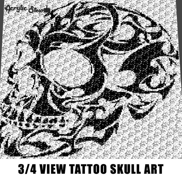 Three Quarter View Human Skull Tattoo Alpha Art C2C crochet graphgan blanket pattern; afghan; graphgan pattern; cross stitch; graph; pdf download; instant download