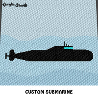 Custom US Navy Submarine Art crochet graphgan blanket pattern; c2c, cross stitch graph; instant download