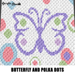 Purple Butterfly and Polka Dots Circles Spring Colors crochet graphgan blanket pattern; c2c, cross stitch; graph; pdf download; instant download
