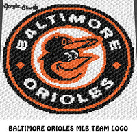 Baltimore Orioles MLB crochet graphgan blanket pattern; c2c, cross stitch graph; instant download