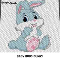 Baby Bugs Bunny Looney Tunes Cartoon Character crochet graphgan blanket pattern; c2c, cross stitch graph; pdf download; instant download