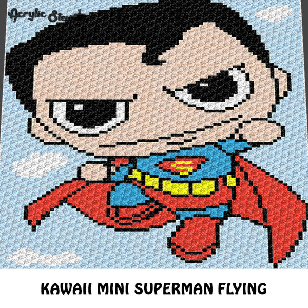 Kawaii Mini Superman DC Comics Baby Superhero crochet graphgan blanket pattern; graphgan pattern, c2c, cross stitch graph; pdf download; instant download