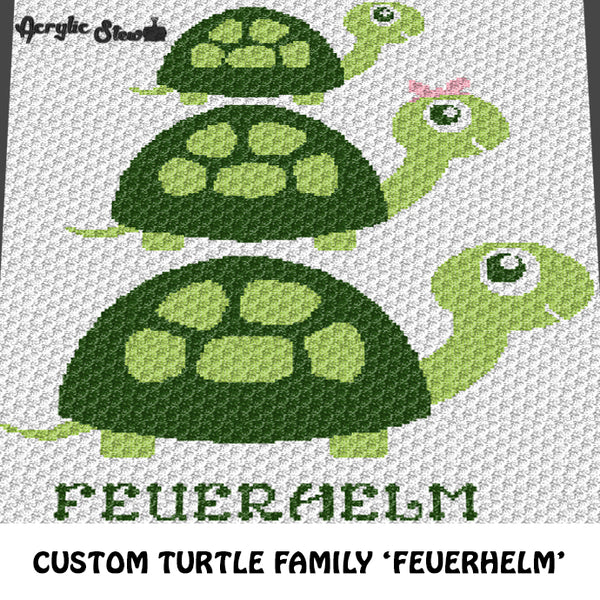 Custom Baby Mommy Daddy Turtle Family Personalized With Name crochet graphgan blanket pattern; c2c, cross stitch graph; pdf download; instant download