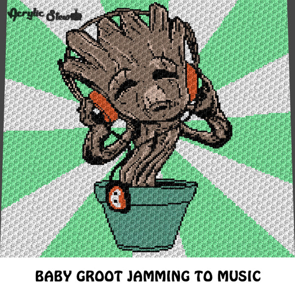Baby Groot Grooving with Headphones Guardians of the Galaxy Character crochet graphgan blanket pattern; c2c, cross stitch graph; pdf download; instant download