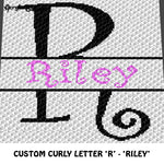 Custom Personalized Fancy Curly Font Letter 'R' and Custom Name crochet graphgan blanket pattern; graphgan pattern, c2c, cross stitch graph; pdf