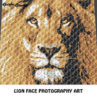 Lion Face Photograph Lion Art crochet graphgan blanket pattern; graphgan pattern, c2c, knitting, cross stitch graph; pdf download; instant download