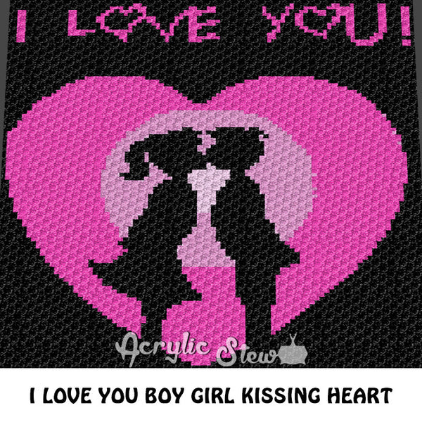 I Love You Boy Girl Kissing C2C crochet blanket pattern; afghan; graphgan pattern, c2c, cross stitch graph; pdf download; instant download