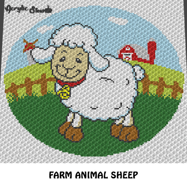 Adorable Sheep Farm Animal Barn Windmill crochet blanket pattern; c2c, cross stitch graph; instant download