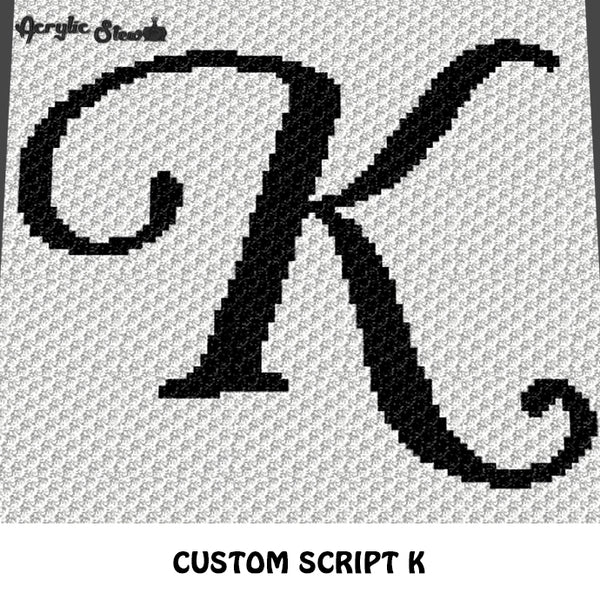 Custom Personalized Script Letter K crochet blanket pattern; graphgan pattern, c2c, cross stitch graph; pdf download; instant download