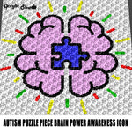 Brain With Autism Puzzle Piece Autism Awareness Multi-Color Art crochet graphgan blanket pattern; c2c; single crochet; cross stitch; graph; pdf download; instant download