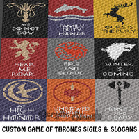 Custom Game of Thrones Sigils and Slogans crochet blanket pattern; c2c, cross stitch graph; instant download