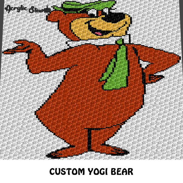 Custom Yogi Bear Vintage Cartoon Character crochet graphgan cushion pattern; c2c, cross stitch graph; instant download