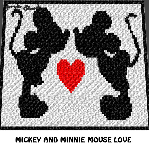 Mickey & Minnie Mouse Kiss and Heart crochet graphgan blanket pattern; c2c, cross stitch graph; instant download