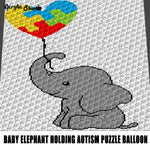 Baby Elephant Holding Autism Puzzle Piece Balloon Autism Awareness Jungle Animals crochet graphgan blanket pattern; c2c; single crochet; cross stitch; graph; pdf download; instant download