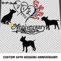 Custom 50th Wedding Anniversary Roses with Initials Custom Date Bull Terriers crochet graphgan blanket pattern; c2c, cross stitch graph; pdf download; instant download