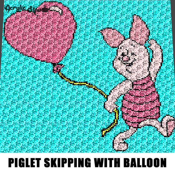 Piglet Skipping With Heart Balloon Winnie the Pooh Cartoon Character crochet graphgan blanket pattern; c2c, cross stitch; graph; pdf download; instant download