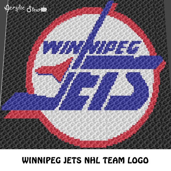 Winnipeg Jets NHL Team Vintage Logo Manitoba Hockey Team crochet graphgan blanket pattern; c2c, cross stitch graph; pdf download; instant download