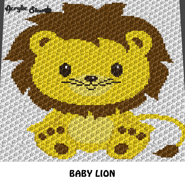 Baby Lion Sitting Jungle Animals Baby Animals crochet graphgan blanket pattern; c2c; cross stitch; graph; pdf download; instant download