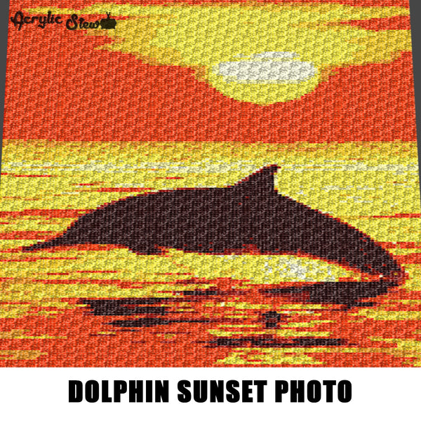 Dolphin Jumping Sunset Photo Art crochet graphgan blanket pattern; graphgan pattern, c2c, knitting, cross stitch graph; pdf download; instant download