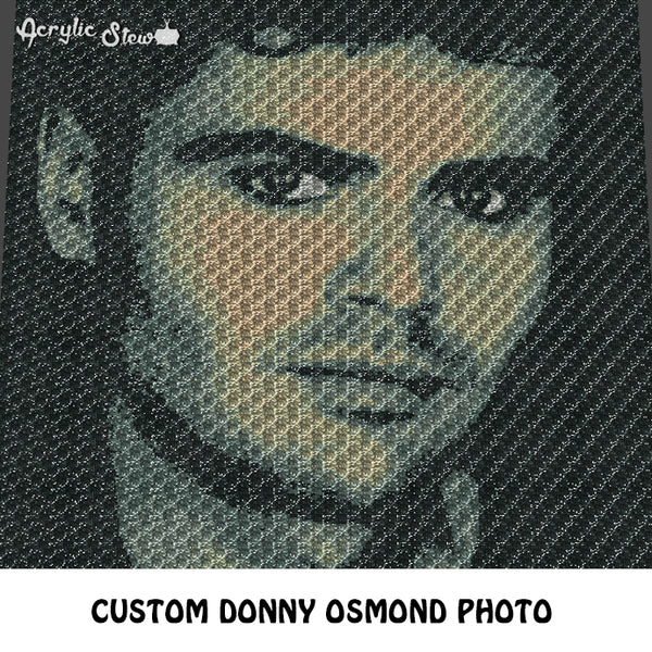 Custom Donny Osmond Artistic Photo crochet graphgan blanket pattern; c2c, cross stitch graph; pdf download; instant download