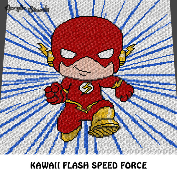 The Flash Kawaii Chibi Mini DC Comics Superhero Television Cartoon crochet graphgan blanket pattern; graphgan pattern, c2c; single crochet; cross stitch; graph; pdf download; instant download