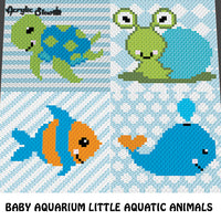 Baby Aquarium Turtle Fish Whale and Snail Little Aquatic Animals crochet graphgan blanket pattern; c2c, cross stitch graph; pdf download; instant download