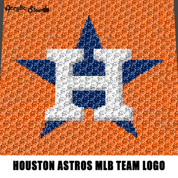 Houston Astros MLB Baseball Team Logo Minimalist crochet graphgan blanket pattern; c2c, cross stitch; graph chart; pdf download; instant download
