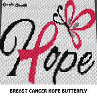 Breast Cancer Ribbon Hope Typography Butterfly Breast Cancer Awareness crochet graphgan blanket pattern; c2c, cross stitch graph; pdf download; instant download