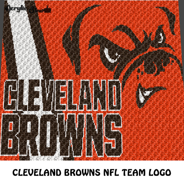 Cleveland Browns Cleveland Ohio Dawg Pound NFL Football Team Logo Design crochet graphgan blanket pattern; c2c, cross stitch graph; pdf download; instant download