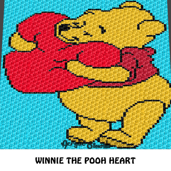 Winnie the Pooh Squeezing A Heart Disney Cartoon Character crochet graphgan blanket pattern; c2c, cross stitch graph; pdf download; instant download