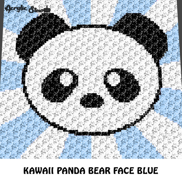 Kawaii Panda Face Baby Animals Blue Background Endangered Species crochet graphgan blanket pattern; graphgan pattern, c2c, cross stitch graph; pdf download; instant download