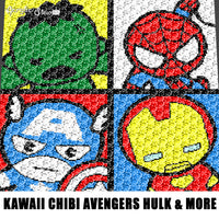 Kawaii Chibi Mini Marvel Avengers Superheroes Spiderman The Hulk Captain America Iron Man crochet graphgan blanket pattern; graphgan pattern, c2c, single crochet; cross stitch; graph; pdf download; instant download