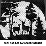 Buck and Doe Forest Landscape Stencil Art crochet graphgan blanket pattern; c2c, cross stitch graph; pdf download; instant download