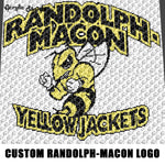 Custom Randolph Macon Yellow Jackets Mascot Logo crochet graphgan blanket pattern; c2c; single crochet; cross stitch; graph; pdf download; instant download