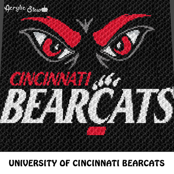 University of Cincinnati UC Bearcats College Logo and Mascot crochet graphgan blanket pattern; c2c, cross stitch graph; pdf download; instant download