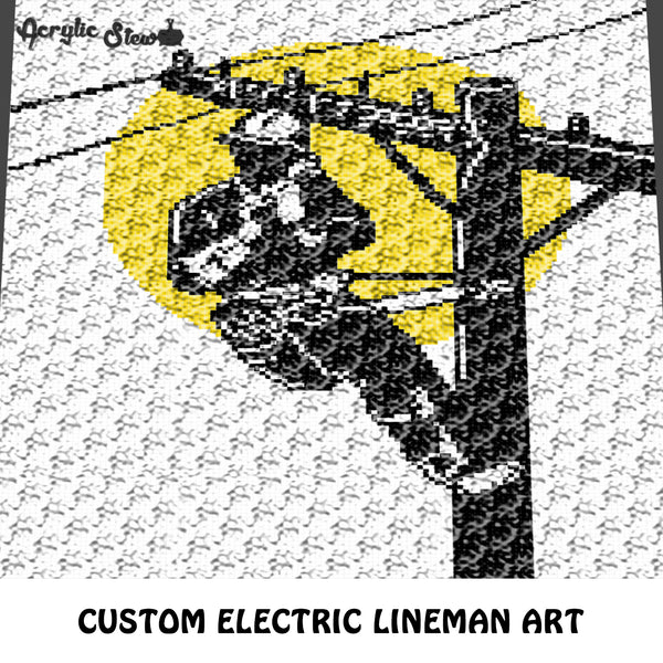 Custom Electric Lineman Tri Color Art crochet graphgan blanket pattern; c2c, cross stitch graph; pdf download; instant download