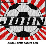 Custom Personalized Name Soccer Ball crochet graphgan blanket pattern; graphgan pattern, c2c, cross stitch graph; pdf