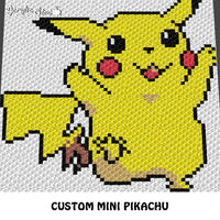 Custom Mini Pikachu Pokemon crochet graphgan blanket pattern; c2c, cross stitch graph; pdf download; instant download