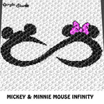 Mickey Mouse & Minnie Mouse Infinity Symbol crochet graphgan blanket pattern; c2c, cross stitch graph; pdf download; instant download